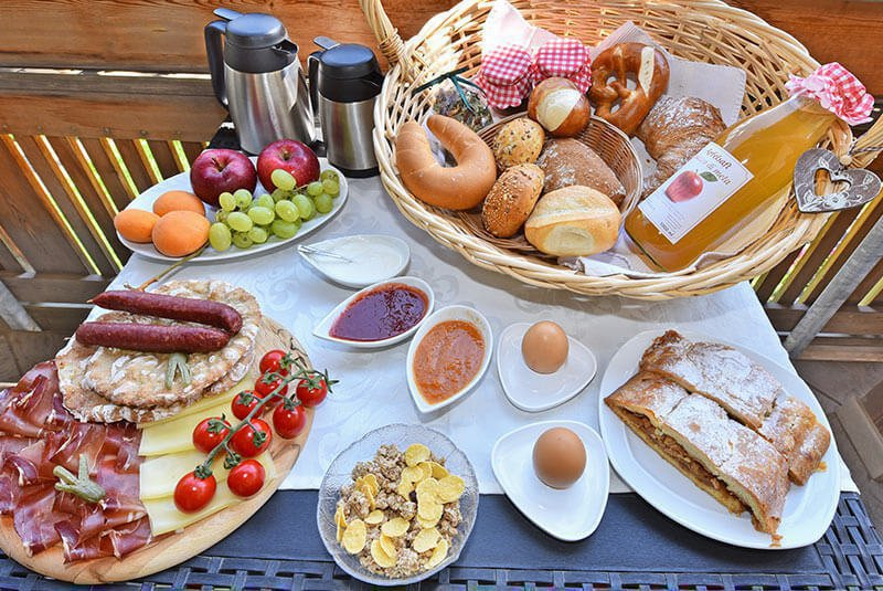Breakfast basket with fresh products